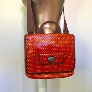 FOSSIL Key-Per Red Diamond Polka Crossbody Bag